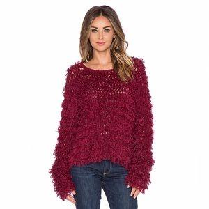For Love & Lemons Joplin Maroon Fuzzy Knit Sweater